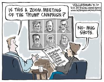 Political Cartoon U.S. Trump mug shots Bannon
