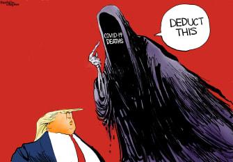 Editorial Cartoon U.S. COVID deaths Trump taxes