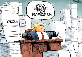 Political Cartoon U.S. Trump prosecution immunity