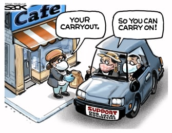 Editorial Cartoon U.S. COVID takeout small business
