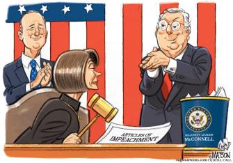 Political Cartoon U.S. Pelosi Impeachment Vote McConnell Clap Back