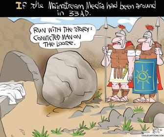 Editorial Cartoon U.S. mainstream media easter jesus