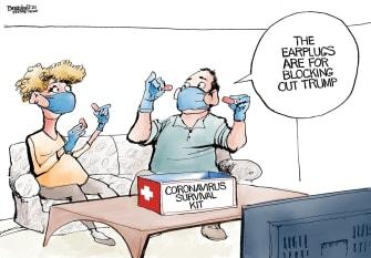 Political Cartoon U.S. Trump Coronavirus face masks ear plugs survival kit