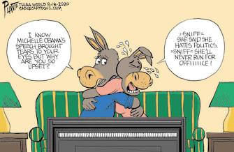 Political Cartoon U.S. DNC Michelle Obama speech