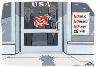 Political Cartoon U.S. Trump GOP reopen economy coronavirus