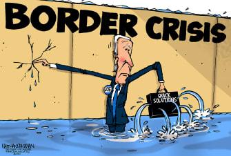 Political Cartoon U.S. biden border crisis