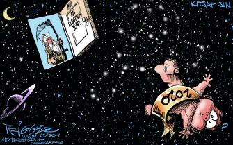 Political Cartoon U.S. Election Year 2020 Baby Orbit