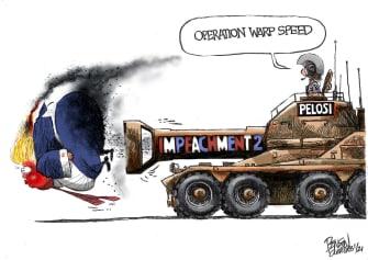 Political Cartoon U.S. Trump Pelosi impeachment
