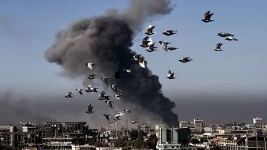 Smoke billows in Mosul.