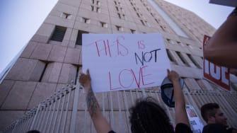 Protester decries Trump border policy in Los Angeles