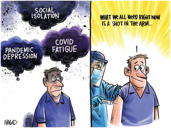 Editorial Cartoon U.S. covid vaccine fatigue