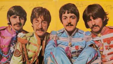 The Beatles' Sgt. Pepper's Lonely Hearts Club Band album autographed by all four band members.