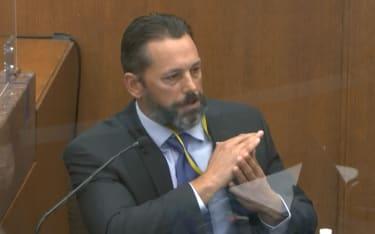 Lt. Johnny Mercil testifies during the Derek Chauvin trial.