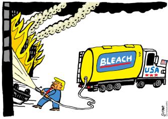 Political Cartoon U.S. Trump George Floyd protests bleach