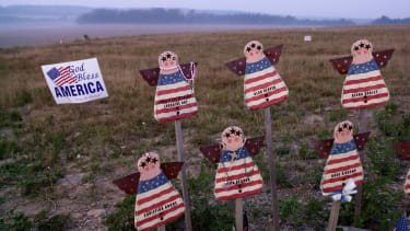 Home crafted angels bearing the names of the flight 93 victims at the crash site in August 2003.