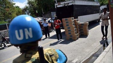 United Nations helmet in Haiti.