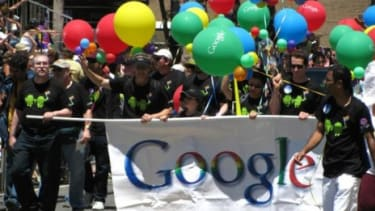 """Google represents at the 2010 San Francisco Pride parade: The tech giant is taking its gay rights campaign worldwide with """"Legalize Love"""" pushes in Singapore and Poland."""