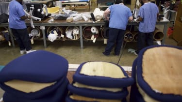 Inmates working at a furniture shop in Pennsylvania.