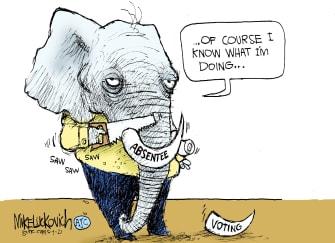 Political Cartoon U.S. gop voting restrictions