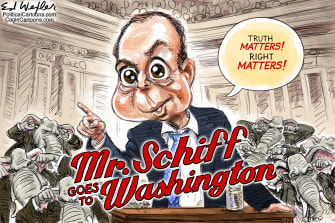 Political Cartoon U.S. Adam Schiff impeachment trial Mr Smith Goes to Washington
