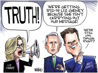 Political Cartoon U.S. liz cheney mccarthy gaetz