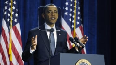 President Obama's reliance on teleprompters has become a campaign issue for the GOP, with Rick Santorum suggesting that the speech-aiding devices should be outlawed.