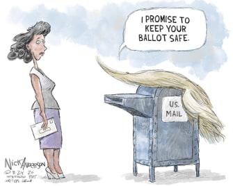 Political Cartoon U.S. Trump USPS ballot 2020 vote