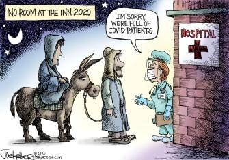 Political Cartoon U.S. COVID Christmas