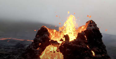 Iceland volcano eruption as seen by a drone