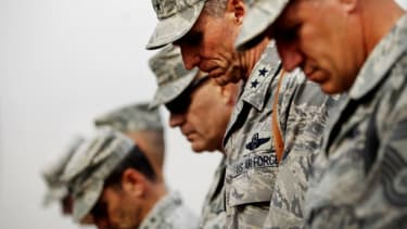 U.S. military personnel prepare for departure from the Sather Air Base on December 15, 2011 in Baghdad, Iraq.