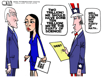 Political Cartoon U.S. biden aoc taxes debt