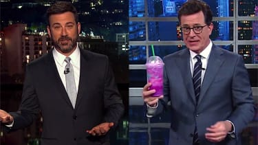 Stephen Colbert and Jimmy Kimmel goof on the Unicorn Frappuccino