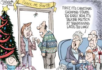 Political Cartoon U.S. Peace on Earth Politics Christmas