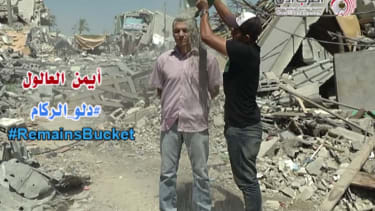 The Rubble Bucket Challenge: Gaza's answer to the ice bucket campaign