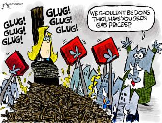 Political Cartoon U.S. gop liz cheney gas prices