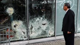 Damage incurred a day after protests broke out in Hong Kong.