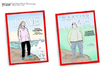 Editorial Cartoon U.S. Time Greta Thunberg Climate Change Doubters