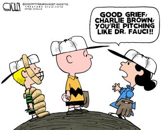 Editorial Cartoon U.S. Peanuts Fauci first pitch