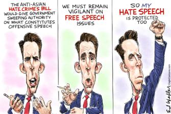 Political Cartoon U.S. josh hawley anti asian hate bill