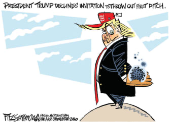 Political Cartoon U.S. Trump coronavirus first pitch MLB