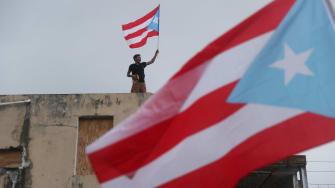A protester in Puerto Rico.