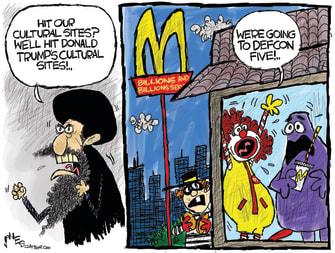 Political Cartoon U.S. Iran Revenge Trump McDonalds