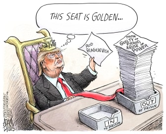 Political Cartoon U.S. Trump Rod Blagojevich pardons abuse of power prison