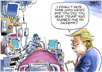 Political Cartoon U.S. Trump Facebook COVID-19 respirator daily briefing victims