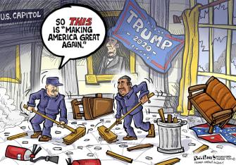 Political Cartoon U.S. Trump MAGA Capitol riot