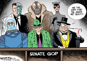 Political Cartoon U.S. Trump impeachment gop batman villains