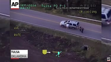 Police helicopter footage of the fatal shooting of Terence Crutcher
