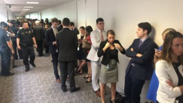Line to get into the Comey hearing.
