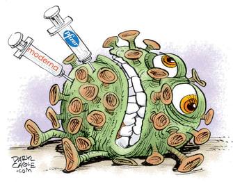 Editorial Cartoon U.S. COVID vaccine Pfizer Moderna