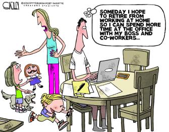 Editorial Cartoon U.S. working from home quarantine coronavirus